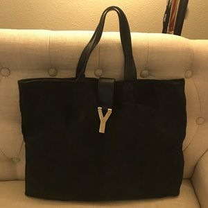 YSL Authenic leather with fur large tote